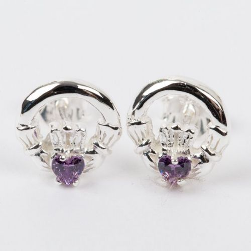 Claddagh Earrings Sterling Silver CZ Alexandrite Stone